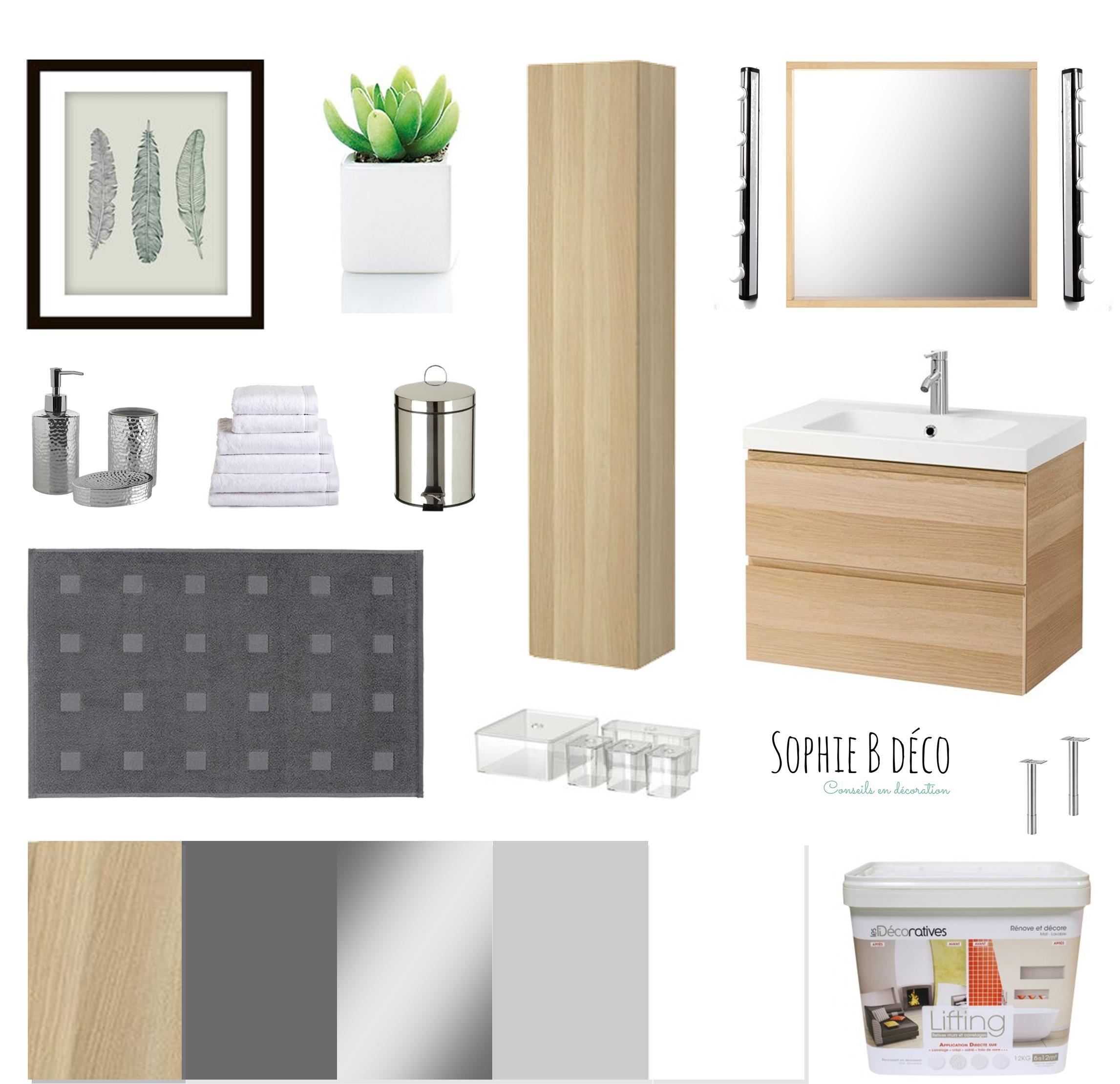 Planche shopping Rénovation SDB bois gris blanc