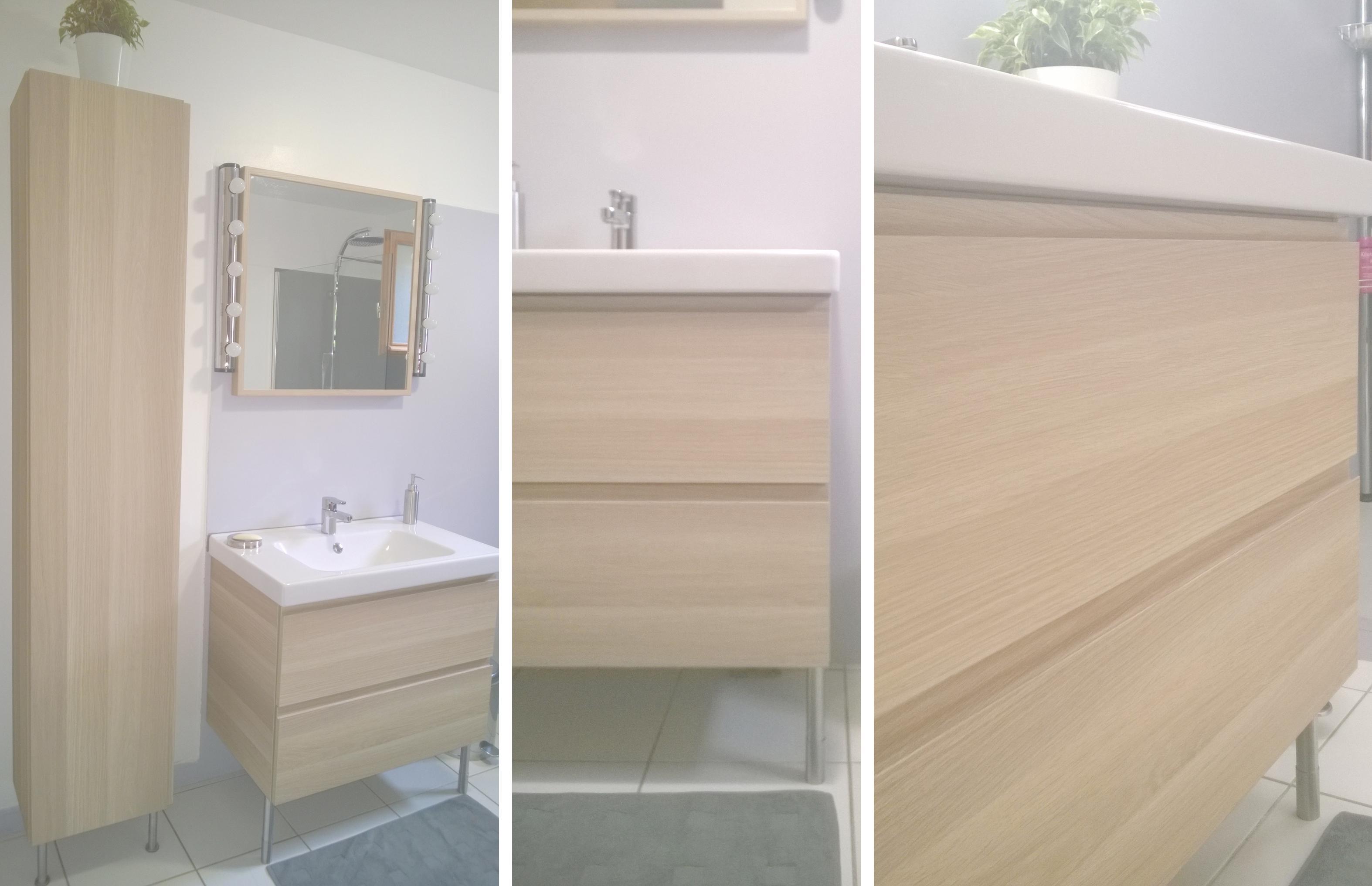 Salle de bain gris et bois