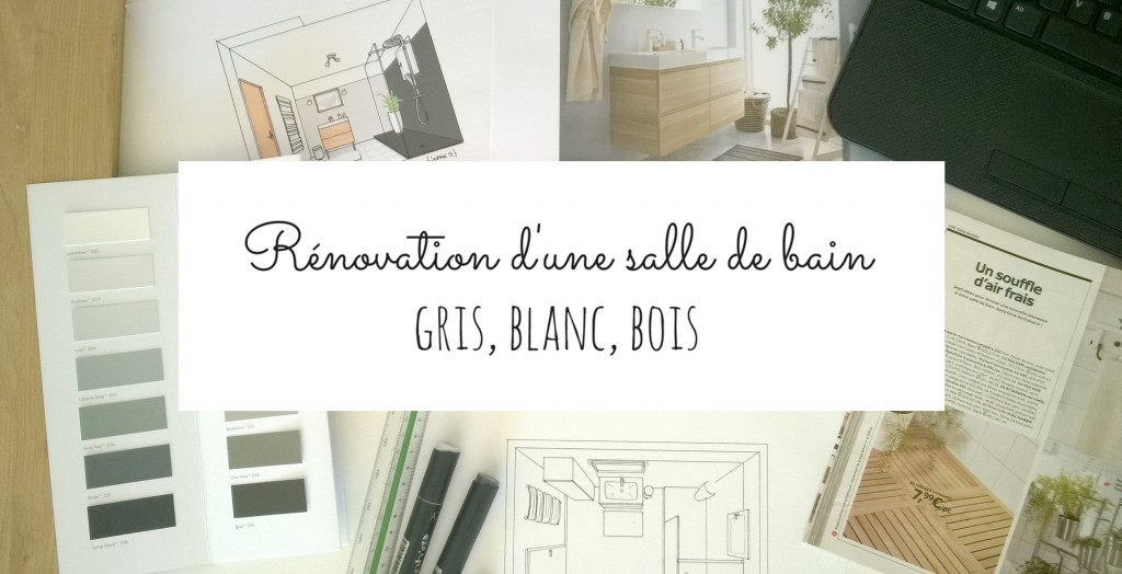 salle de bain : rénovation en gris, blanc et bois - Salle De Bain Gris Bois