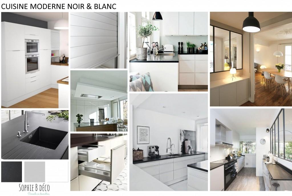 Planche tendance renovation cuisine noir blanc verriere