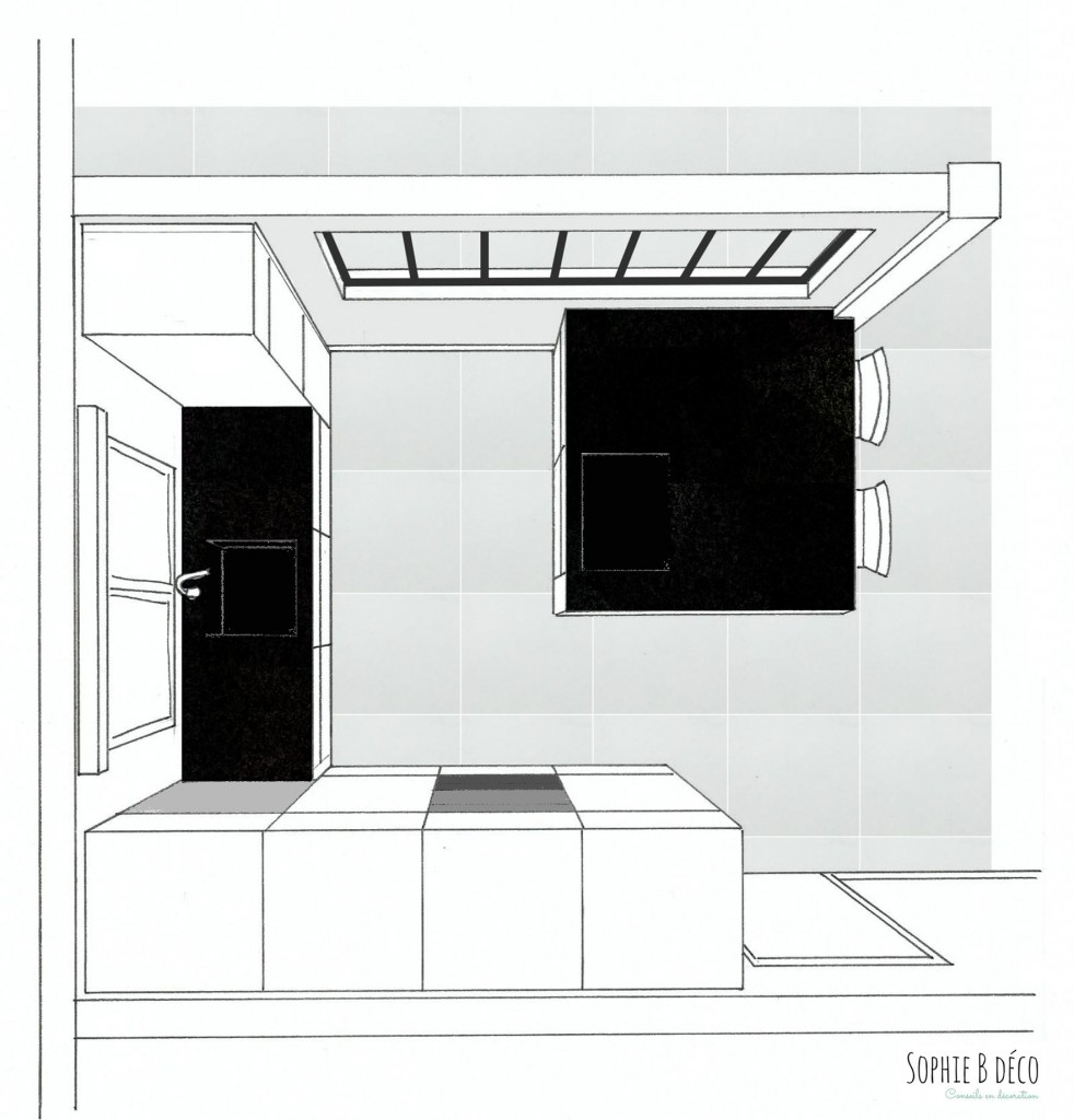 renovation cuisine noir blanc croquis feutre