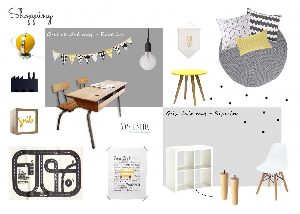 planche shopping chambre d'enfant graphique moderne