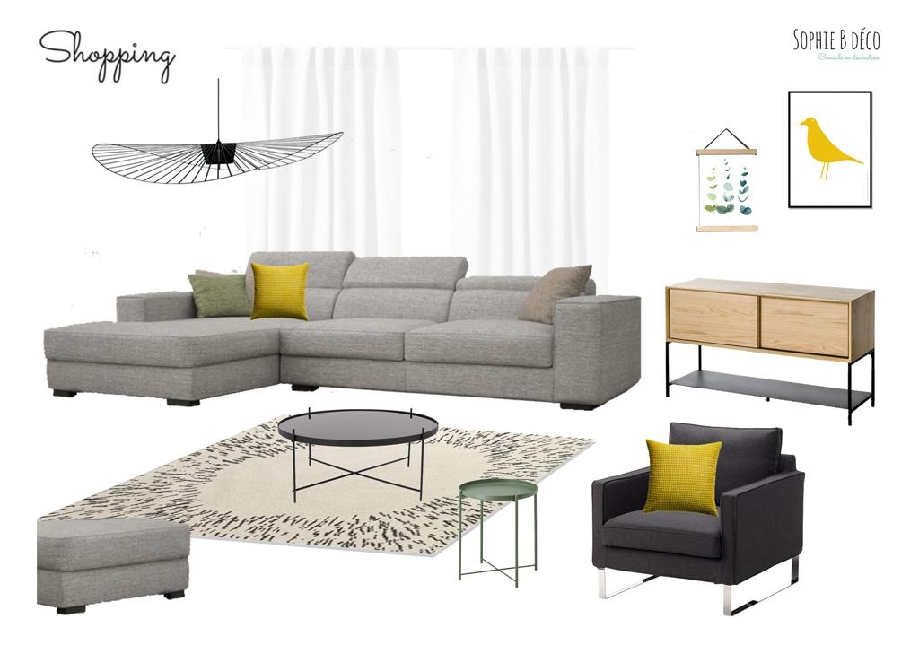 aménagement et décoration planche shopping salon scandinave vert d'eau jaune sophiebdeco