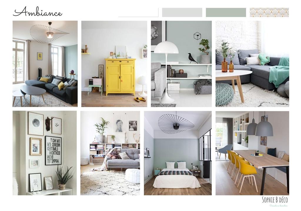 aménagement et décoration planche ambiance piece de vie scandinave vert d'eau jaune sophiebdeco