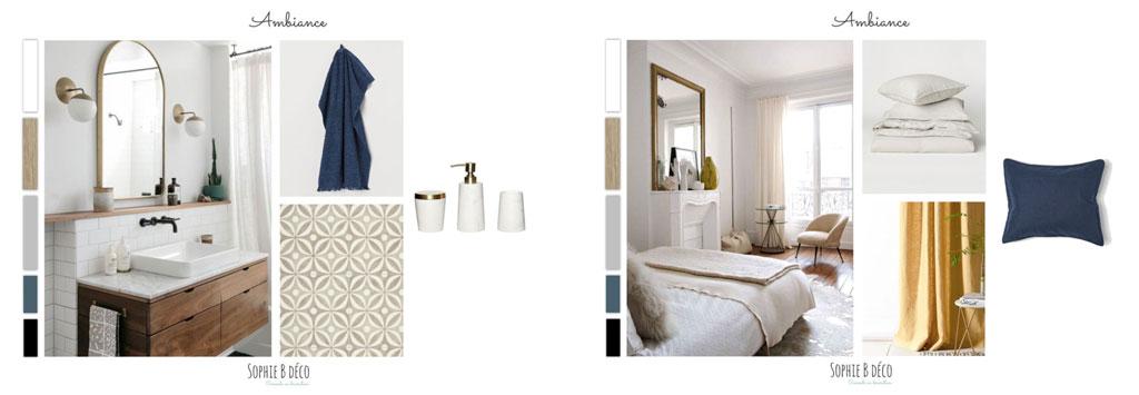 aménagement et décoration planche ambiance chambre salle de bains art déco sophiebdeco