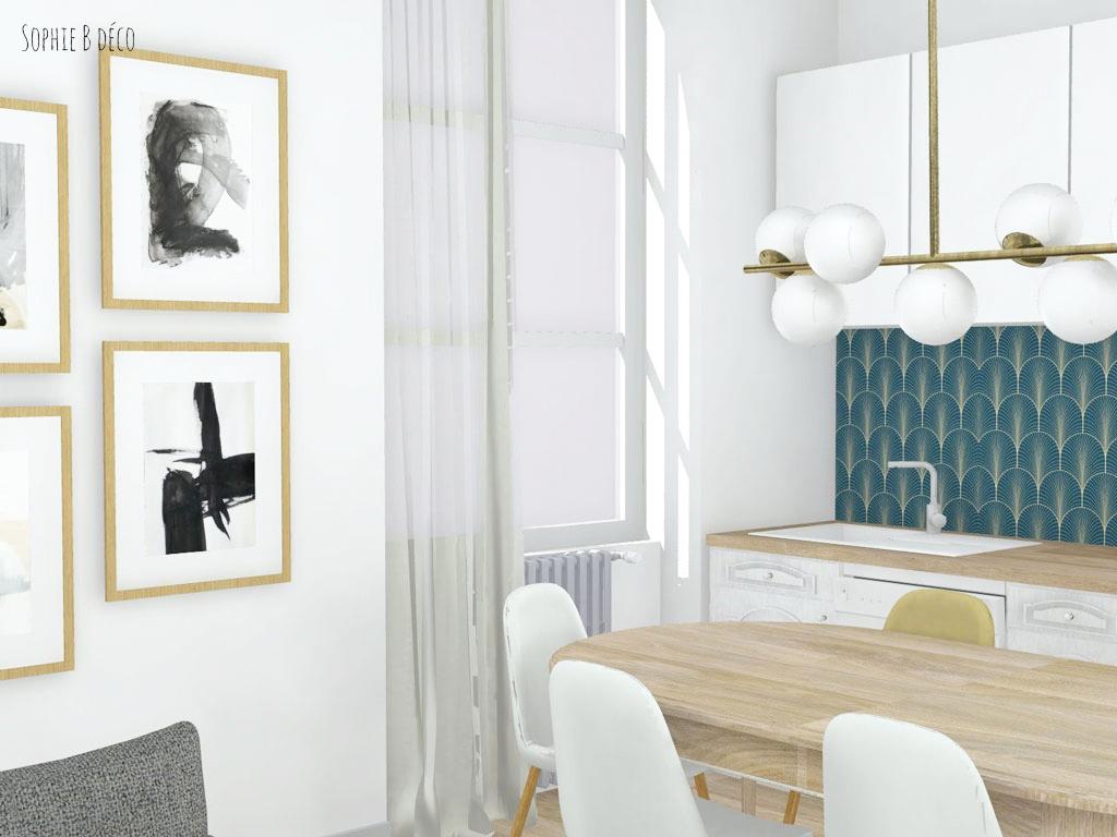 aménagement et décoration planche ambiance rendu 3d art déco sophiebdeco