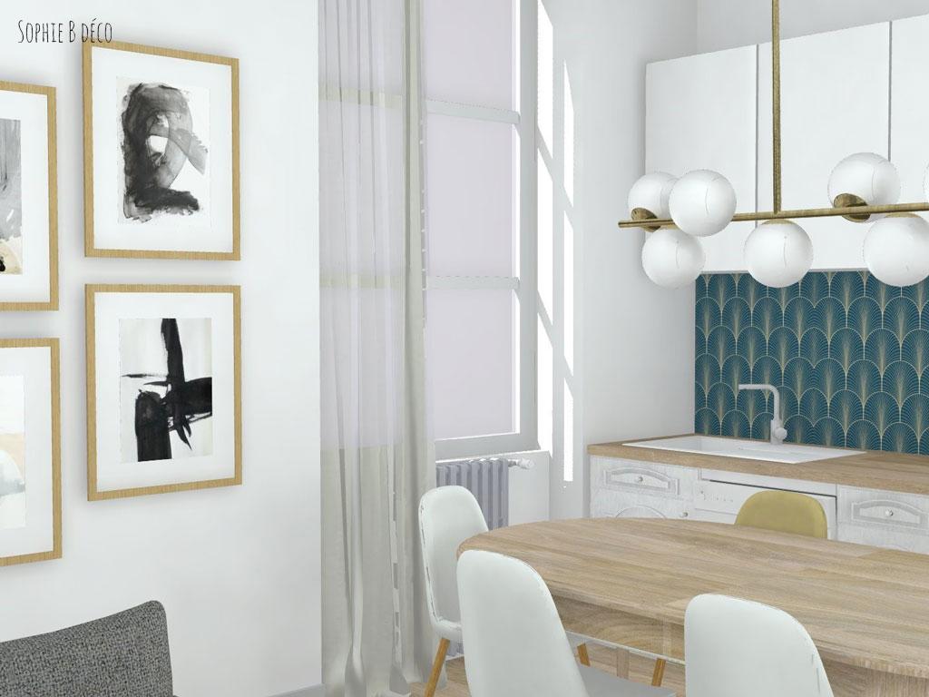 aménagement et décoration planche ambiance piece de vie art déco sophiebdeco