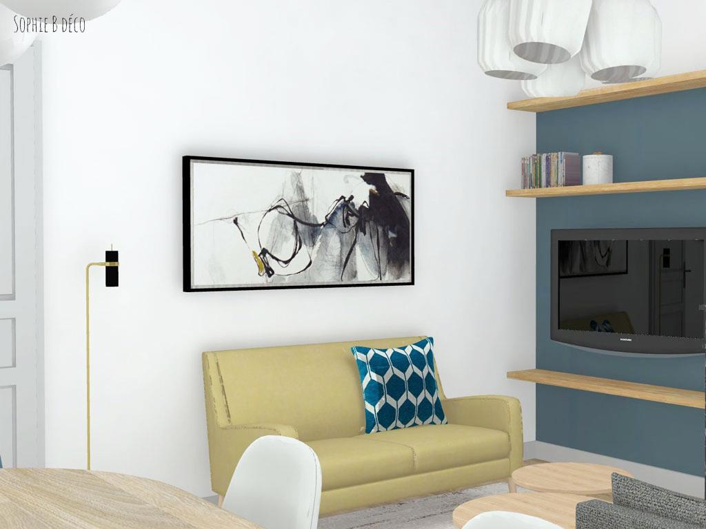 aménagement et décoration rendu 3d piece de vie art déco sophiebdeco