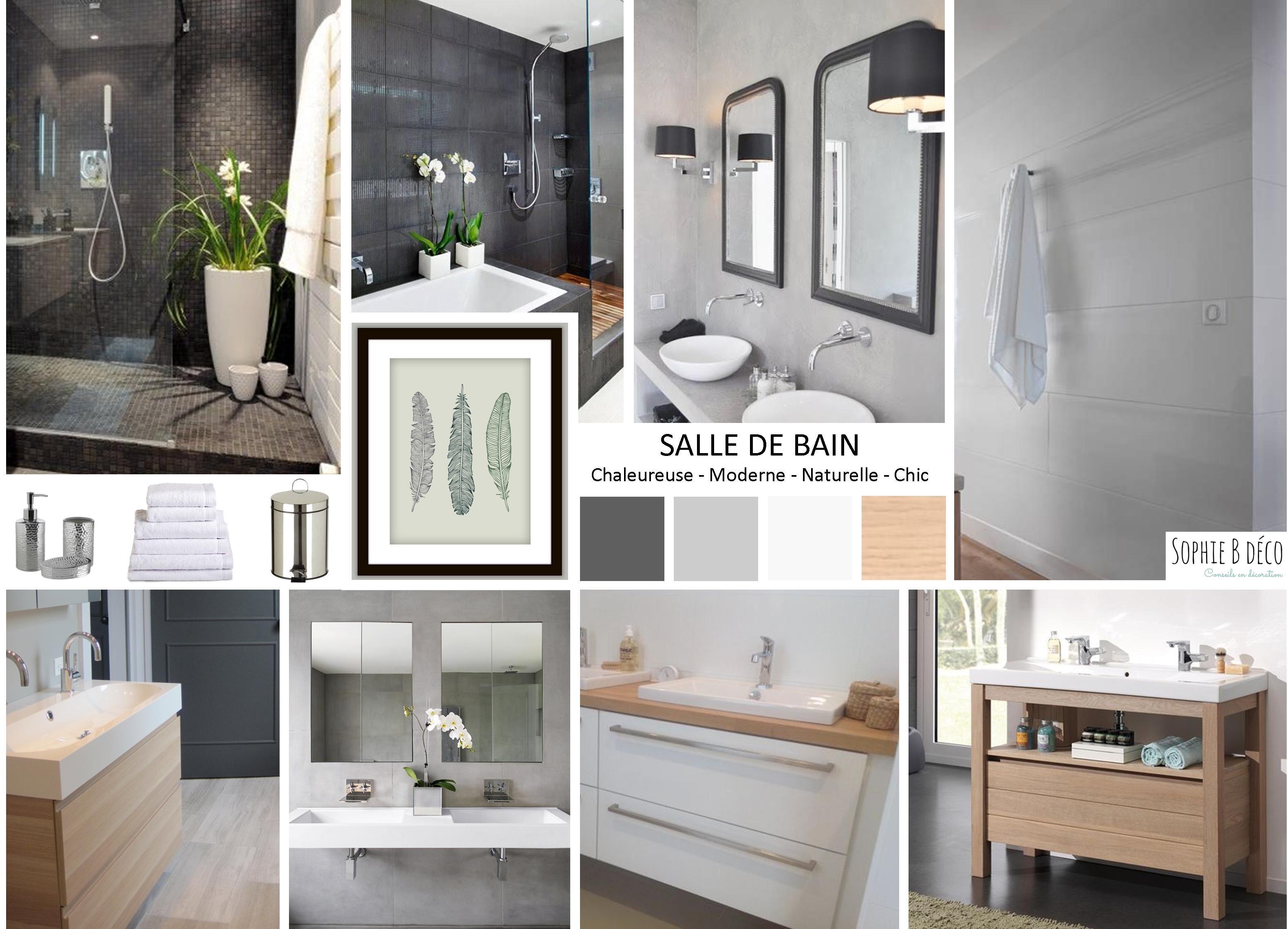 Photo De Salle De Bain Noir Et Blanc salle de bain : rénovation en gris, blanc et bois