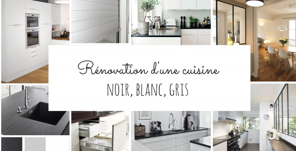 r novation d 39 une cuisine en noir et blanc. Black Bedroom Furniture Sets. Home Design Ideas
