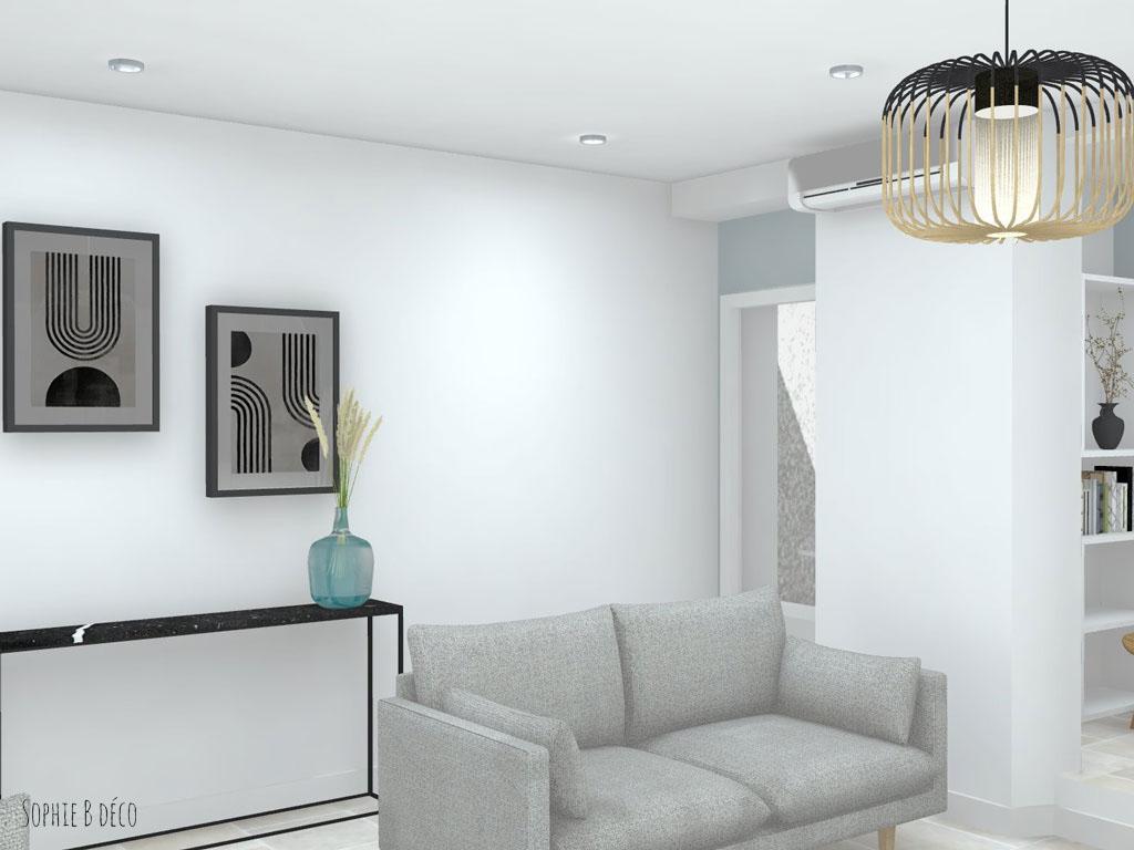 aménagement et décoration rendu 3d piece de vie colocation sophiebdeco