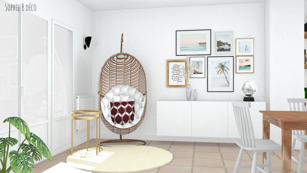 aménagement et décoration piece de vie boheme californien sophiebdeco