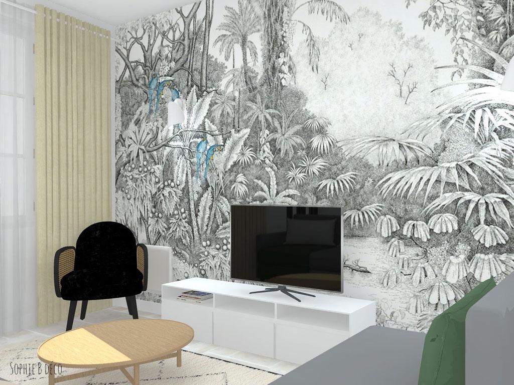 aménagement et décoration pièce de vie colocation sophiebdeco
