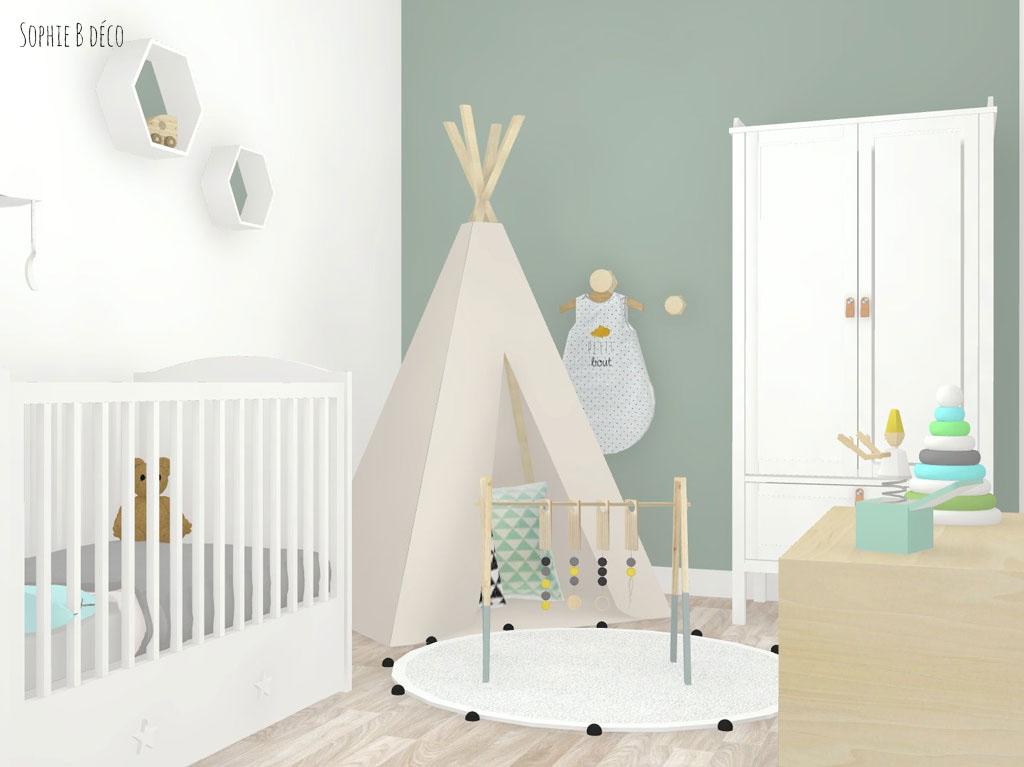 décoration chambre bébé vert d'eau scandinave naturel
